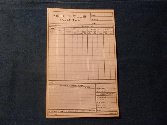 Scheda piano di volo - Aero Club Padova - 1968