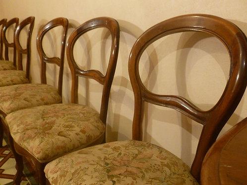 Sei sedie, legno massello e seduta imbottita