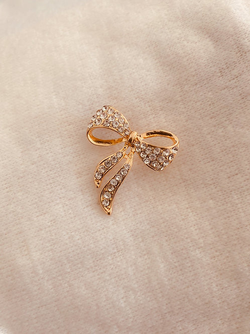 Gold Color Plated Bow Brooch