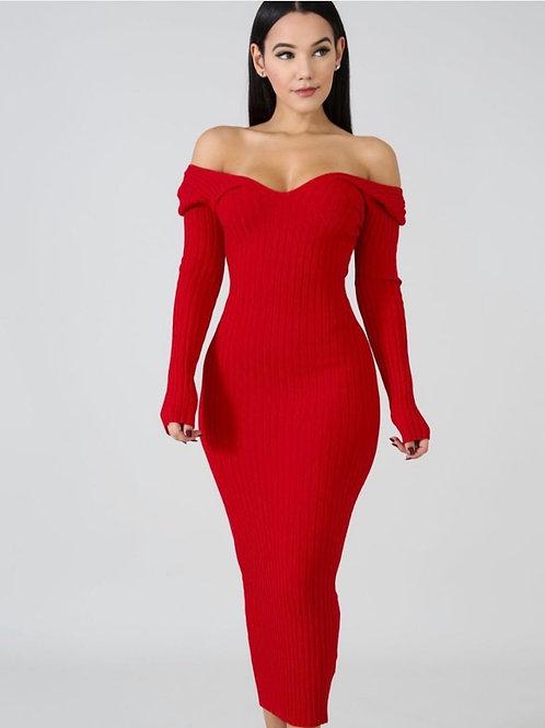 Red Rib Knit Midi Dress