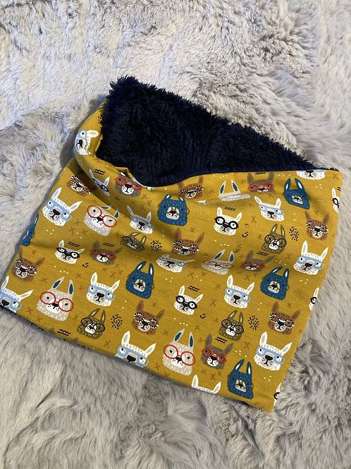Small Mustard Bunnies in Glasses Snood with Navy lining to fit 1-6yrs