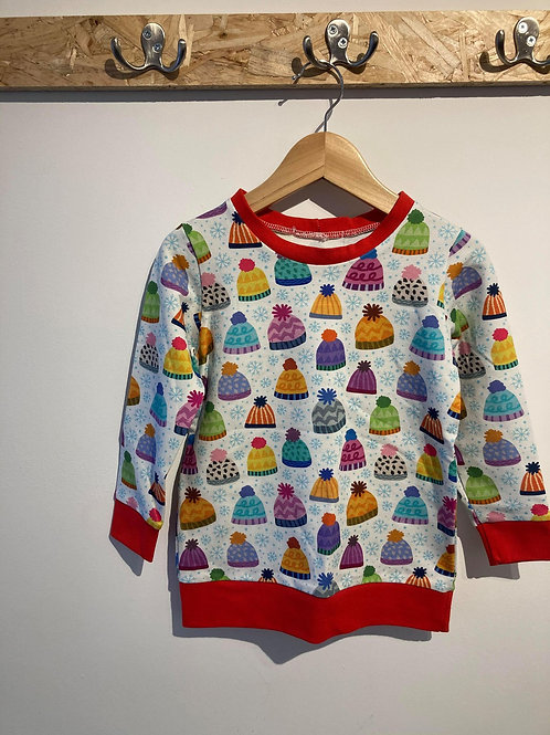 Bobble Hat Jumper Red Cuff age 3-4 years