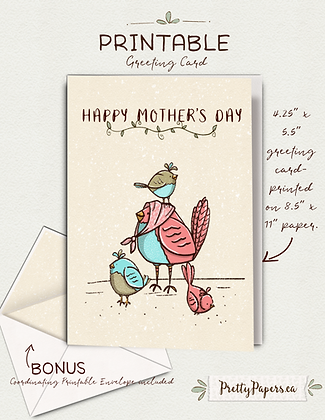 Mothers Day, Hen, Chickens, Mom| Digital, Instant Download, Greeting card, Print