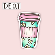 Retro Looking Latte Cup Sticker - Take Out Cup Sticker - Die Cut Sticker