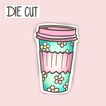 Retro Looking Latte Cup Sticker - Take Out Cup Sticker - Die Cut Sticker