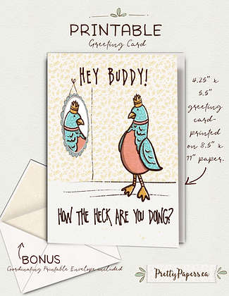 How are you, Whimsical bird, thinking of you  Printable, Instant Download, Card