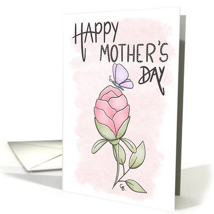 Happy Mother's Day with a Pink Rose