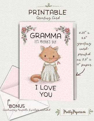 Mother's Day Card, Gramma, Cute Kitten, Instant Download, Greeting Card, Grandma