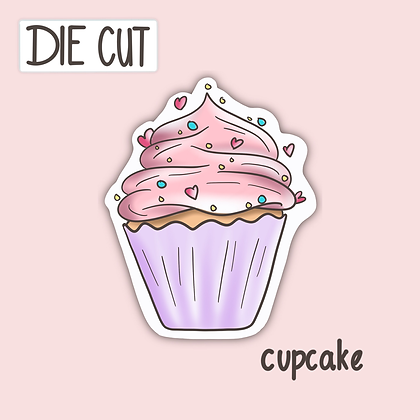 Cute Cupcake Sticker - Pink Cupcake -Cute Die Cut Sticker