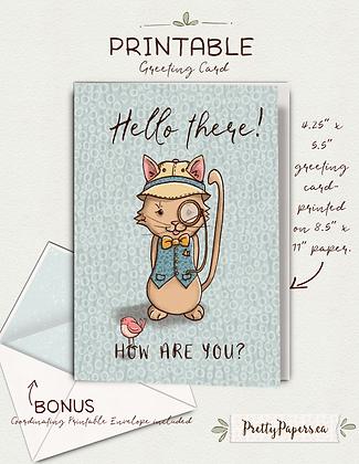 Greetings, Sherlock, Cat, Whimsical   Printable, Instant Download, Card