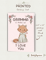 Mother's Day  Ginger Kitten  Gramma   Cute Dress  Greeting Card  Floral Accents