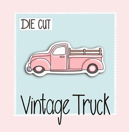 Cute Vintage Truck- Die Cut Sticker - Cute Pink Truck Sticker - Die Cut Sticker