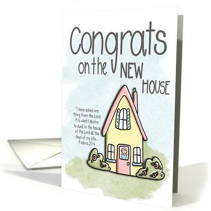 Congratulations Card - New House - Yellow House Card - Cute House Card