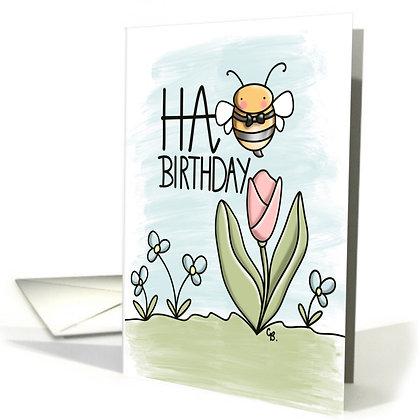Cute Bumble Bee - Happy Birthday Card - Sweet Tulip and Bee - Fun Card