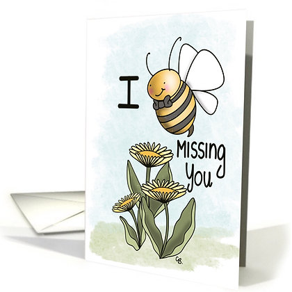 Cute Bumble Bee Card - I Miss You Card - Cute Dandelion and Bee