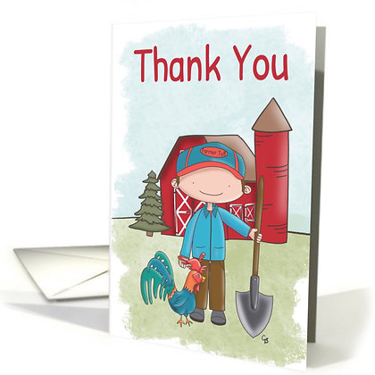 Cute Little Farmer - Farmer and Rooster Card - Thank You Card - Little Red Barn