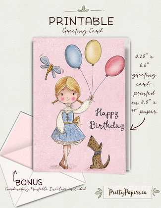 Birthday, daughter, sister, puppy| Printable, Instant Download, Card