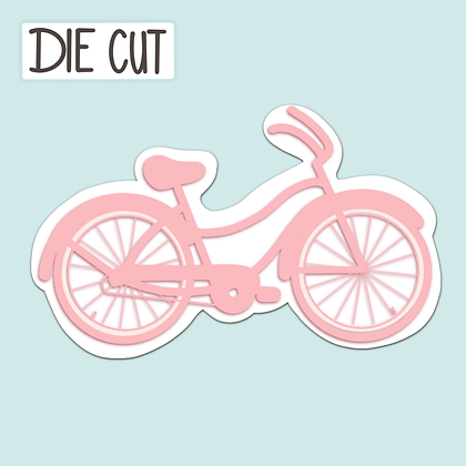 Retro Pink Bicycle Sticker - Vintage Bike - Die Cut Sticker