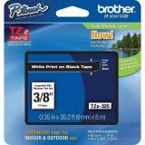"Brother TZe325 9mm (0.35"") White on Black tape for P-Touch 8m (26.2 ft)"