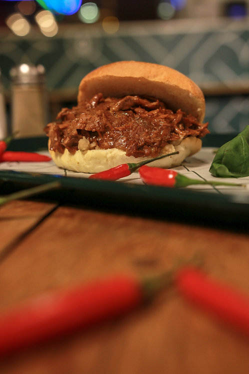 BBQ Pulled Pork Baguette (also available in a bap £6)