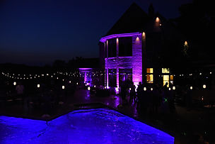 Backyard Wedding LED Bistro Lighting and Uplights in Lakeville, MN