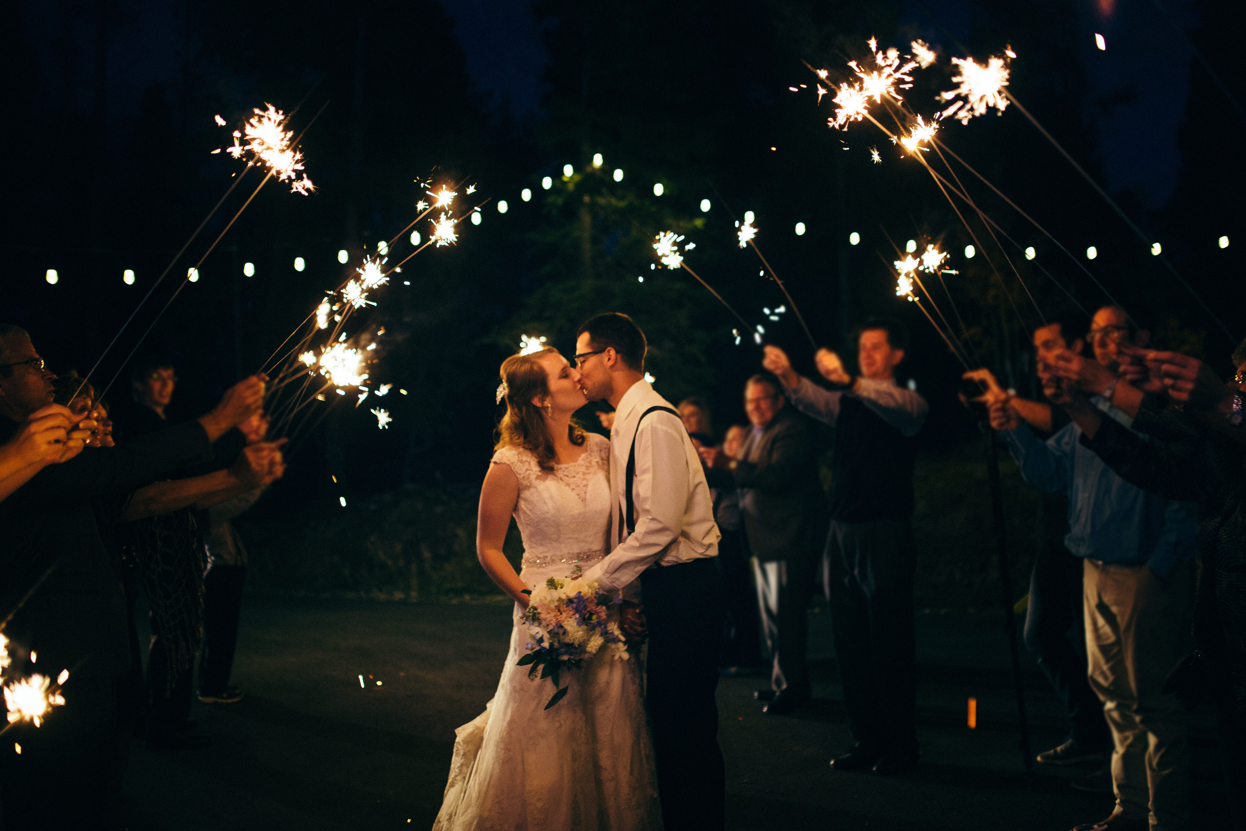 Wedding Bistro Lighting & Sparklers
