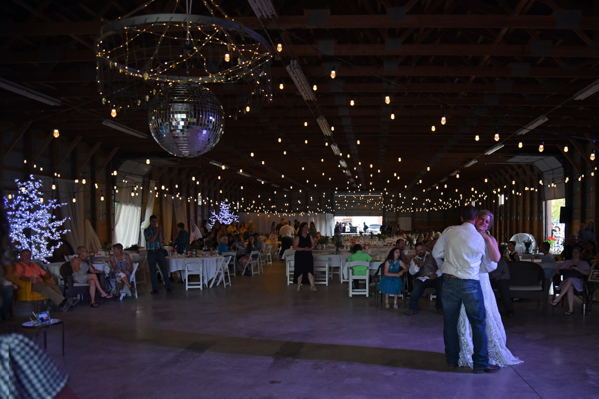 Bistro Lighting at Pole Barn Wedding