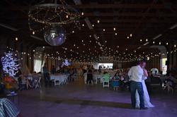 Bistro Lighting at Pole Barn Wedding