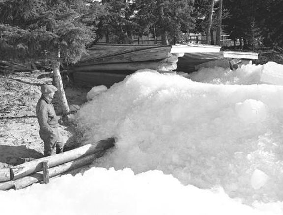Ice breaking up at Mameo Beach, Pigeon Lake, Alberta. May 2, 1947., City of Wetaskiwin Archives, WET wet-90-is-wet-47-344.3