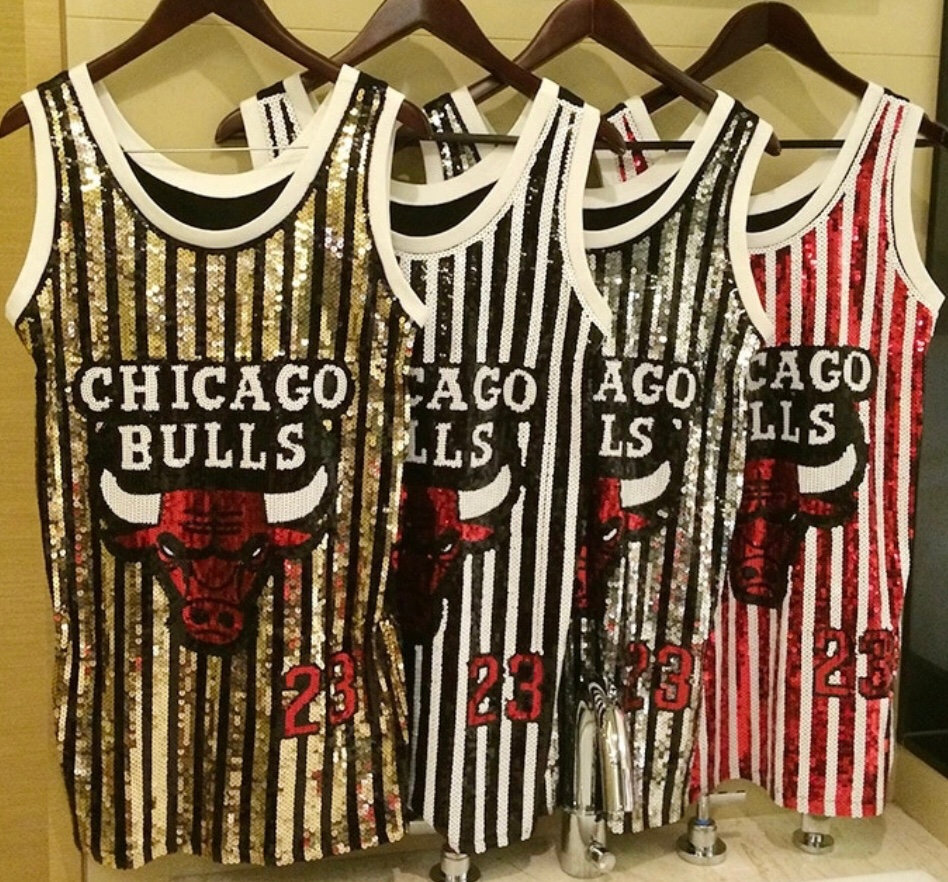 pretty nice 6c5c8 8d91d Sequin Chicago Bulls Jersey/dress   moc313