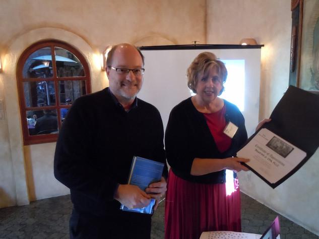 Stuart C Hill with acting FW Chapter President Elaine Piekarski