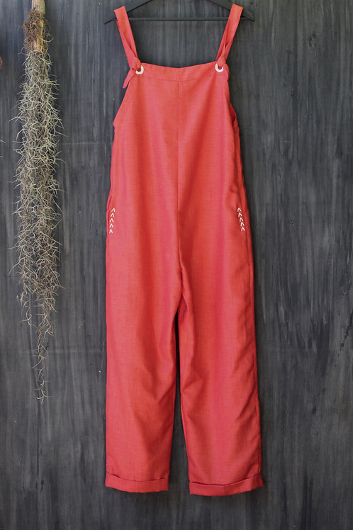 Linen Dungarees Red