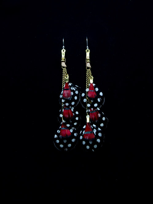 Short Earrings Lady Amherst Red Guinea Fowl