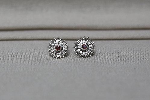 Mandala Earrings Red Garnet