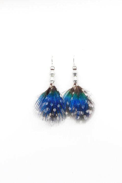 Short Earrings Peacock Blue