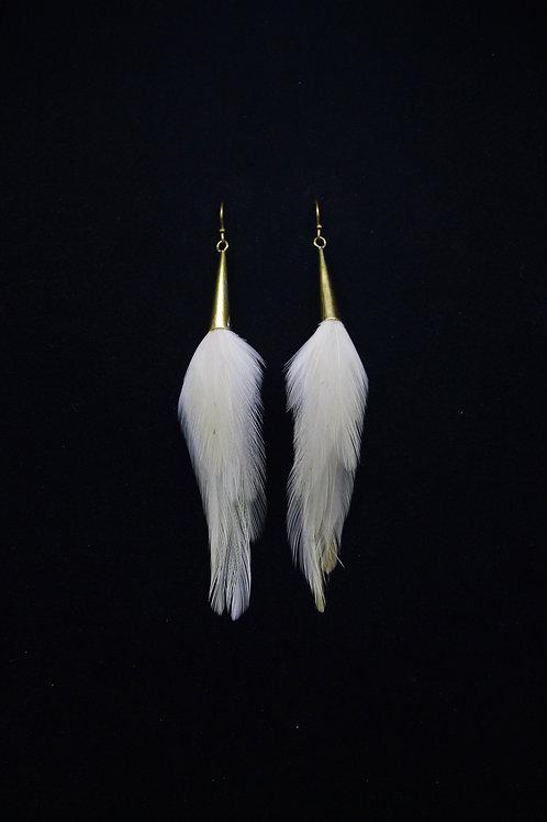 Short Earrings Brass White