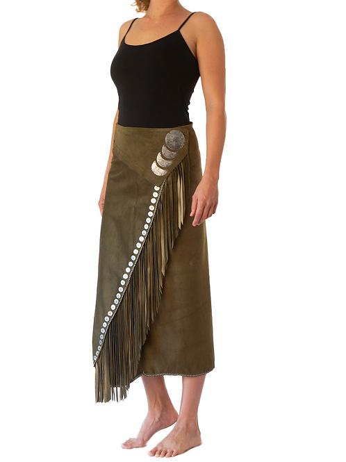 Long Wrap Skirt Khaki Green