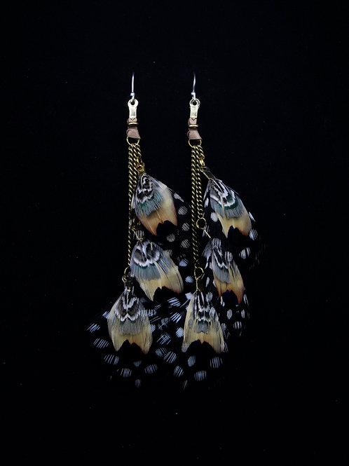 Short Earrings Dusky Guinea Fowl