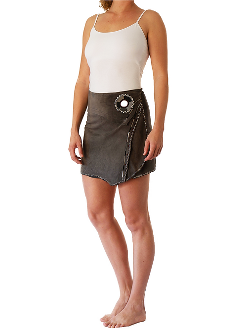 Mini Wrap Skirt Grey