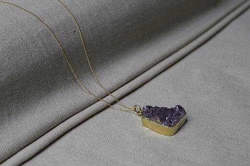 Amethyst Druzy Necklace Brass