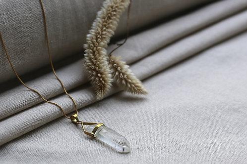 Clear Quartz  Brass Wire Necklace