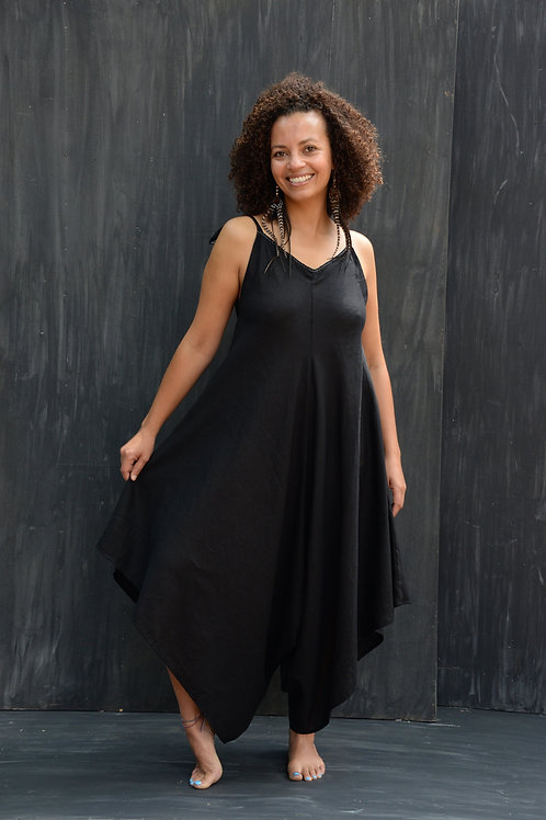 Butterfly Jumpsuit Linen Black