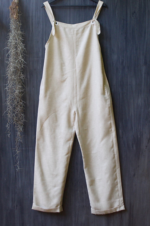 Linen Dungarees Ivory