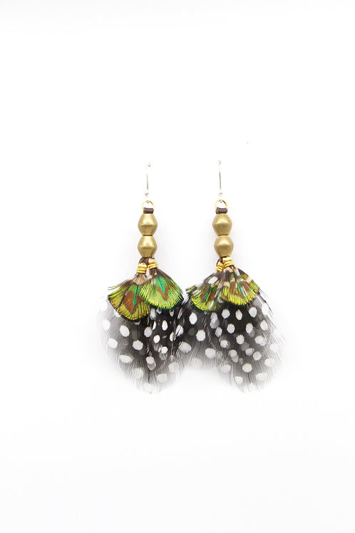 Short Earrings Peacock Green