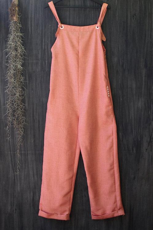 Linen Dungarees Peach