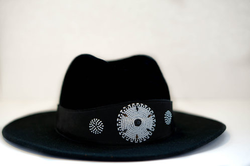 Hat Band Black (W) White