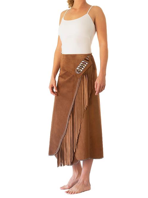 Long Wrap Skirt Tan