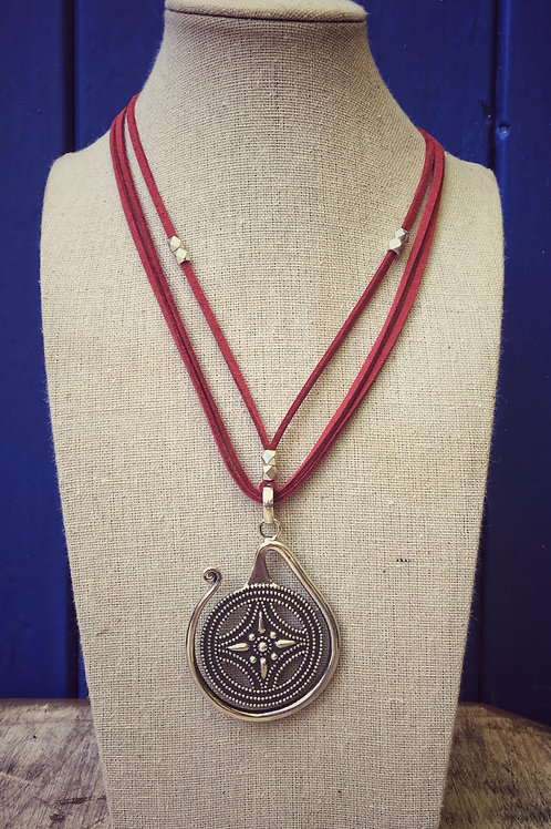 Miao Silver Pendant Necklace - Red Leather (L)