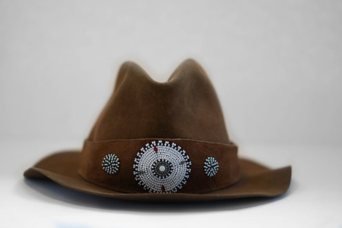 Hat Band Brown (W) White