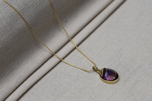 Amethyst Necklace Brass Gold Chain
